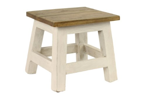 Footstool Bamboo - Antique Revival Goya Wood Step Stool/Accent Made of Mahogany in Chic Lightly Distressed Finish (Square Seat, for Home Use), One Size, White