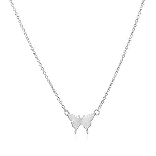 Dwcly Tiny Smart Butterfly Necklace Charm Gift for Lady (Silver)