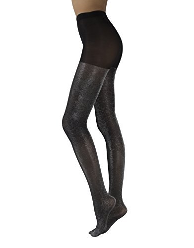OPAQUE LUREX TIGHTS | WOMAN PANTYHOSE WITH GOLD AND SILVER GLITTER | BLACK | 60 DEN | S/M - L/XL | MADE IN ITALY (L/XL, Black/Silver) -