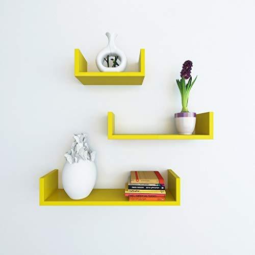 Timberhub Wooden Beautiful U Shaped Fancy Floating Wall Shelf with 3 Shelves  Yellow