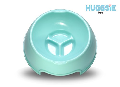 Huggsie Pets Shallow Dog Cat Pet Bowl Great for Puppies Short Nose Picky Eaters Easy Feeder Portable (Blue)
