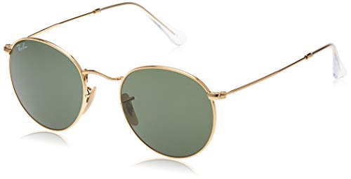 Ray-Ban RB3447 Round Metal Sunglasses, Gold/Green, 50 mm