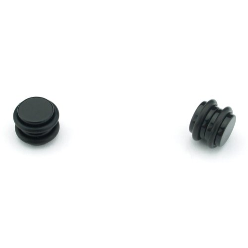 Black Magnetic Design - Acrylic Fake Plugs - Cheaters - 0G Gauge - 8mm