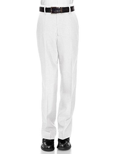 RGM Boys Dress Pants Flat-Front - Slim fit Dress Slacks 100% Dacron White 14