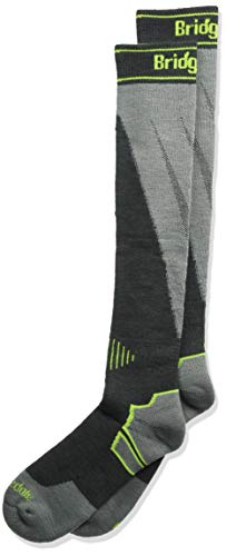 - Bridgedale Men's Midweight Plus Ski Merino Endurance Socks, Large, Gunmetal/Stone