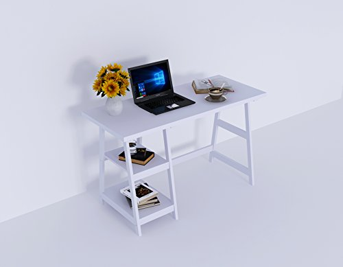 Amayo Home Wood Computer Desk, Laptop PC Table with 2 Storage in White color 47'' Long 20'' Wide 29'' High. Sturdy, Simple Writing Workstation Desk for Office, Nice Study Table for Pupils, Students by Amayo Home