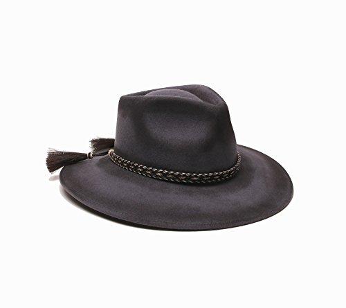'ale by alessandra Women's Roxy dene Distressed Felt Hat With Horse Tail Trim, Gray, Adjustable Head - Barn Dress Sunglasses