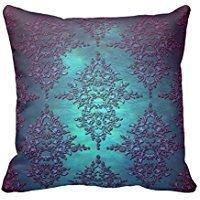 ArtoutletMF 6310 Fancy Teal to Purple Damask Cotton Linen Square Decorative Throw Pillow Case Cushion Cover 18 X 18 - Purple Teal Throw Pillows
