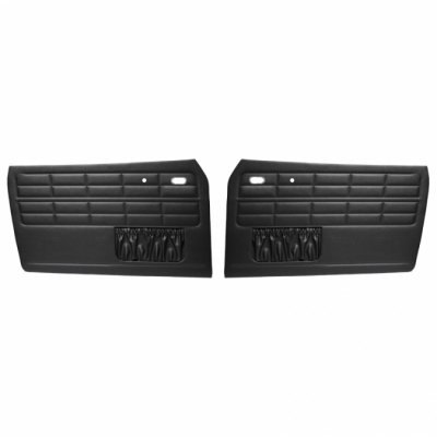 VW Front Door Panels, w/ Pockets, Black Smooth Vinyl, Karmann Ghia Coupe and Convertible 1964-1974 (Front Door Tmi Panels)