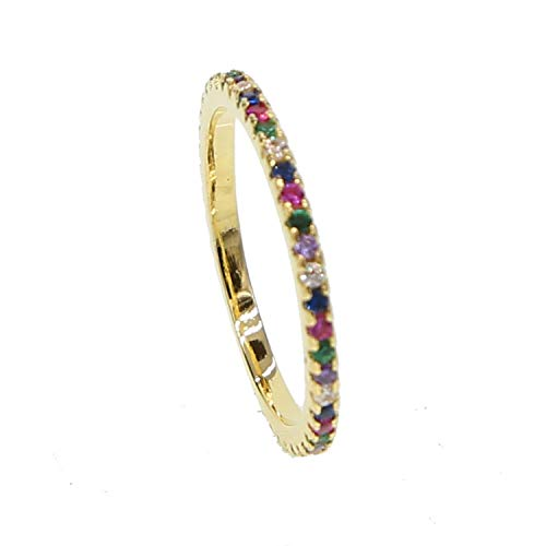 Multi color eternity band delicate rainbow cz cute girl women full cz stack skinny ring,7,gold