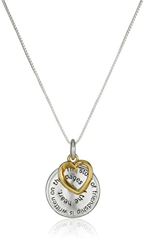 "Two-Tone Sterling Silver with Yellow Gold Flashed ""The Story of Friendship"" Disc and Heart Pendant Necklace, 18"""