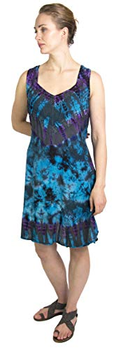 Sakkas 181503 - Luciana Women's Tie Dye Bohemian Swing Midi Dress with Ties and Smock Back - Teal - S/M