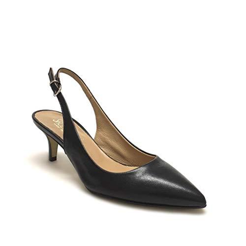 Punta In Shoe Pelle Made Vera Gar Italy Nero Décolleté Slingback A Tacco 5 Con Nere xxIFT7q