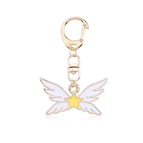 Enamel Childrens Star (Key Chain Rings Kids Anime Sailor Moon Jewelry Cartoon Enamel Sakura Card Captor Cat Star Heart Wings Keychain Animal Key Chain for Kids Llaveros (06))