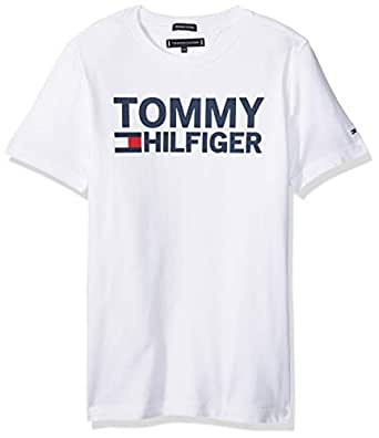 TOMMY HILFIGER Boys' Organic Cotton Logo T-Shirt Highlights, Bright White, 3 Years