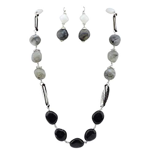 Bocar Newest Long Chunky Beads Necklace and Earrings Set for Women Gift (NK-10456-white+Grey+Black) -