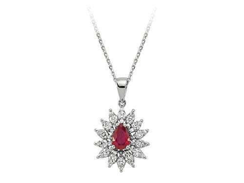 Pendentif Rubis et Diamants-Femme- or Blanc 204P0082