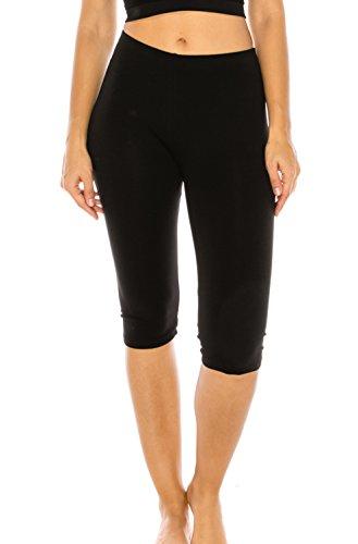 The Classic Women's Stretch Cotton Yoga Leggings Capri Bottoms in Black - 2XL - Capri Bodysuit