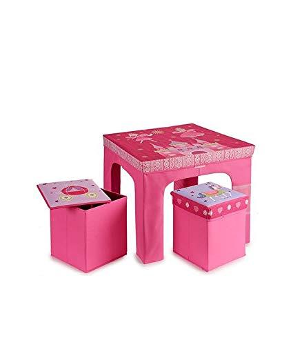 Wadiga - Mesa y 2 taburetes Infantiles Plegables, Color Rosa ...