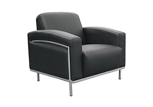 Black Vinyl Reception Chair Black Vinyl/Stainless Steel Frame Dimensions: 34.5