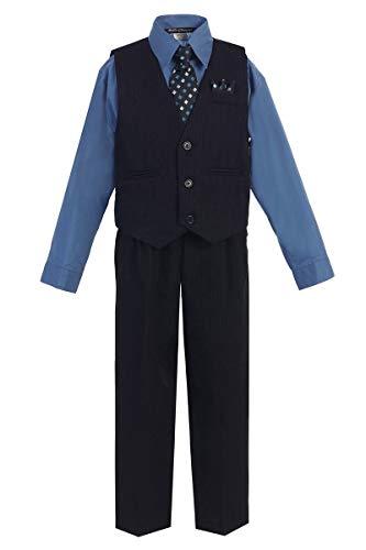 iGirldress Big Boys' Special Occasion Pinstripe Vest Set Navy/Victoria Blue 8