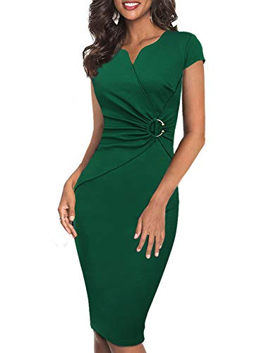 VFSHOW Womens Green Elegant Notch V Neck Ruched Work Office Business Church Bodycon Sheath Dress 2722 GRN XS