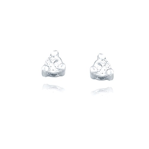 Giantti Silver Diamond Women's Stud Earring ( 0.1 Ct, VS Clarity, GH-Colour) by GIANTTI