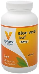 The Vitamin Shoppe Aloe Vera Leaf 470 MG Soothing Herbal Supplement 300 Capsule