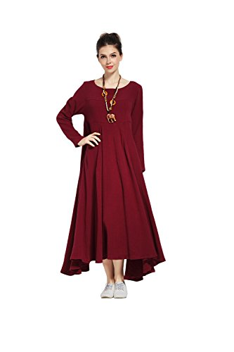 - Anysize Single-Layer Expansion Linen Cotton Dress Spring Summer Plus Size Dress Lithesome 1.1 lbs Y93S Dark Red
