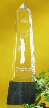 Obelisk Optical Crystal Award - Large