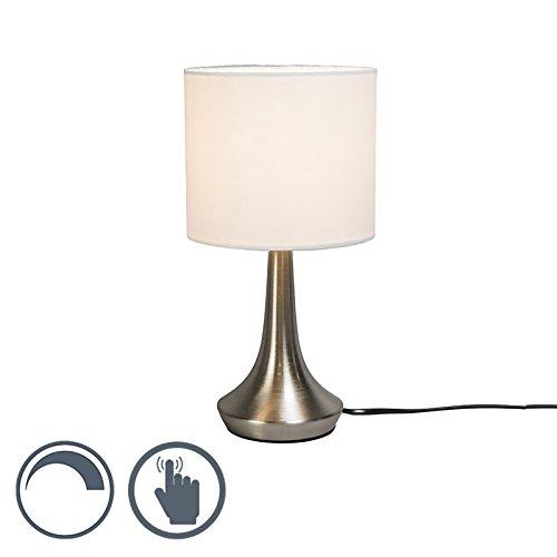 QAZQA Classique/Antique/Industriel/Moderne/Lampe de Table/Lampe á poser/Luminaire/Lumiere/Éclairage Milo 1 rond blanche Metal/Tissu/Rond E14 Max. 1 x 25 Watt/intérieur/Chambre á