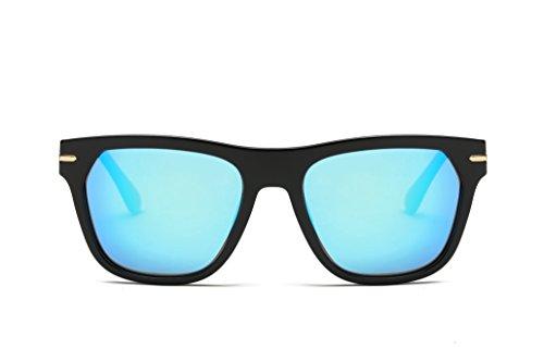 MMK collection Polarized Square Mirrored Sunglasses (Black matte frame, blue (Marco Eyewear Sunglasses)