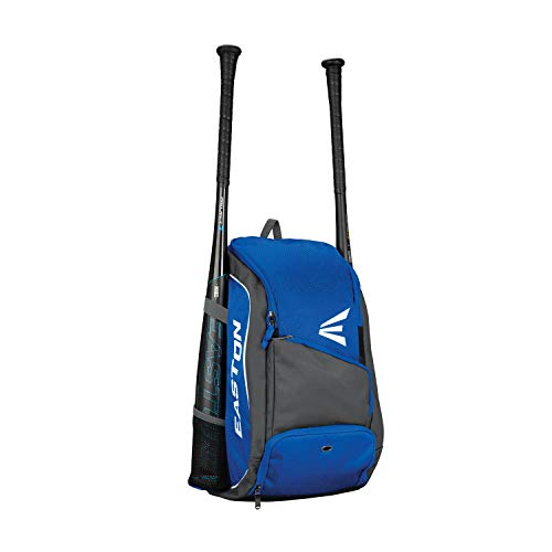 (EASTON GAME READY Youth Bat & Equipment Backpack Bag, Baseball Softball, 2019, Royal, 2 Bat Pockets, Vented Main Compartment, Vented Shoe Pocket, Valuables Pocket, Fence)