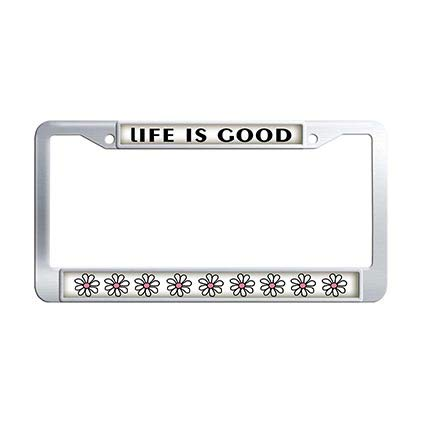 Dongsmer Life is Good License Plate Frame Holder Stainless Steel Flowers Car Auto Tag Frame