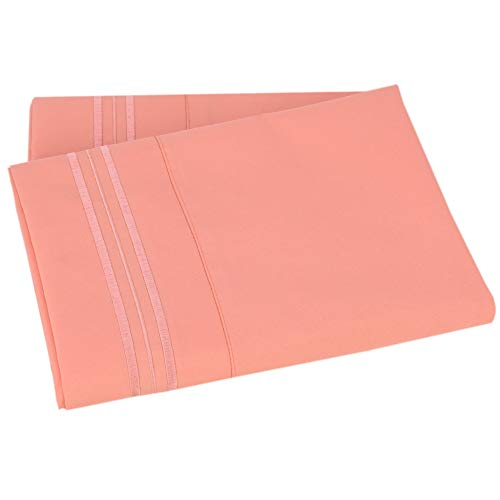Mezzati Luxury Two Pillow Cases - Soft and Comfortable 1800 Prestige Collection - Brushed Microfiber Bedding (Coral Rose, Set of 2 Standard Size Pillow Cases)