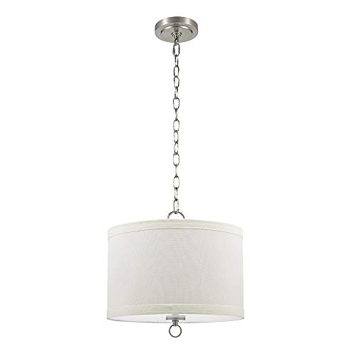 Catalina Lighting 22162-000 Traditional Linen Drum Pendant Ceiling Light with Etched Glass Diffuser, 13.25