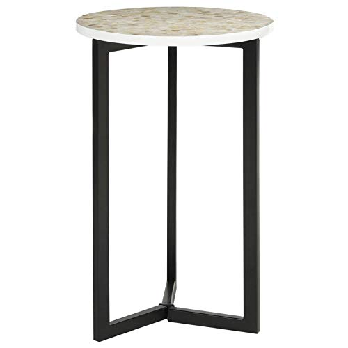 Geometric Metal Base End Table - End Table with Shell Mosaic Work - Black
