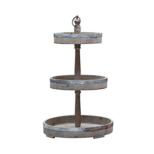 Creative Co-op Decorative Wood & Tin Three Tier Tray