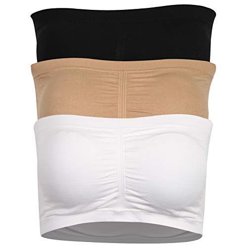CLANDY Women's Padded Strapless Bra, Bandeau Tube Top Bra Pack of 3 Black Beige White XL