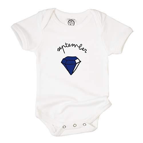 The Spunky Stork Birthstone Gem Stone Birth Month Organic Cotton Baby Bodysuit (0-3M, September)