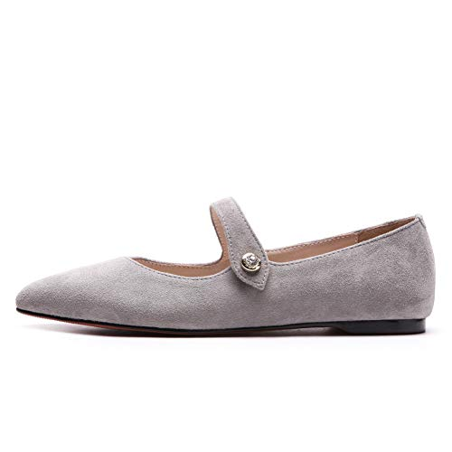 Womens Metal Pointed Sheepskin Toe Pumps DGU00844 Buckles Shoes AN Gray PdaqxP