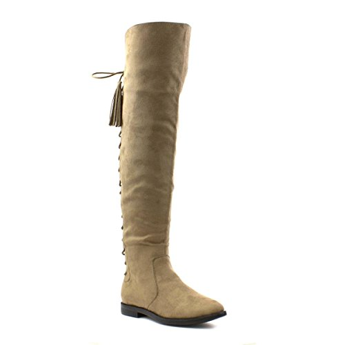 Lilley Womens Taupe Faux Suede Knee High Boot Beige