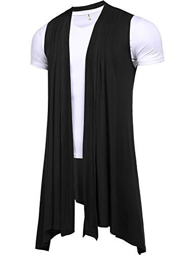 (Pacinoble Men's Sleeveless Shawl Longline Draped Lightweight Open Front Cotton Ruffle Shawl Collar Cardigan Black)