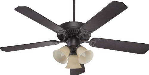 (Quorum International 77525-1744 Capri VI 52-Inch 3 Light Ceiling Fan, Toasted Sienna Finish with Amber Scavo Glass Light Kit and Reversible Blades)