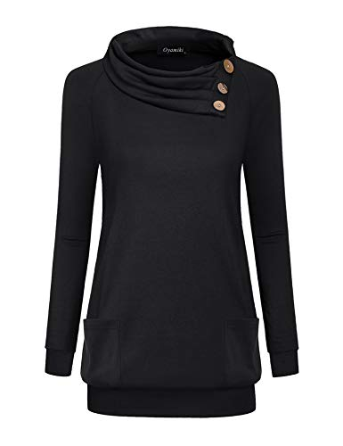 Oyamiki Womens Long Sleeve Button Cowl Neck Casual Slim Tunic Tops with Pockets Black/M