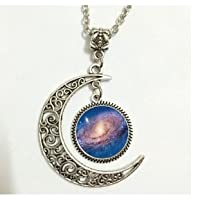 Moon Necklace Glass Art Picture Spiral Galaxy Necklace Outer Space Milky Way Astronomy Nebula Art Pendant