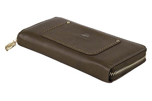 Cartera mujer NAJ-OLEARI marrón compacto con abertura zip A4843