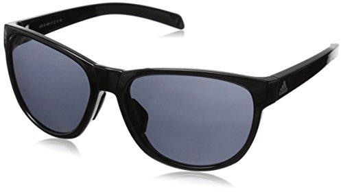 adidas Womens Wildcharge a425 6050 Round Sunglasses, Black Shiny, 57 - Adidas Sunglasses Spare Parts