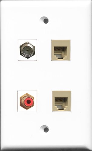 RiteAV 1 Port RCA Red and 1 Port Coax Cable TV- F-Type 2 Port Phone RJ11 RJ12 Beige Wall Plate