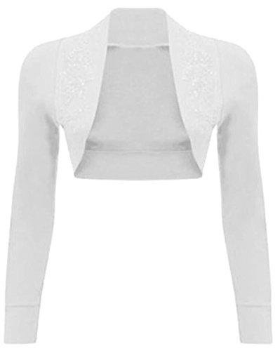 Chocolate Pickle® mujeres Plus Size lentejuelas cuentas Bolero Shrug de lana para mujer de oberseiten 36–�?4 Long Sleeve White